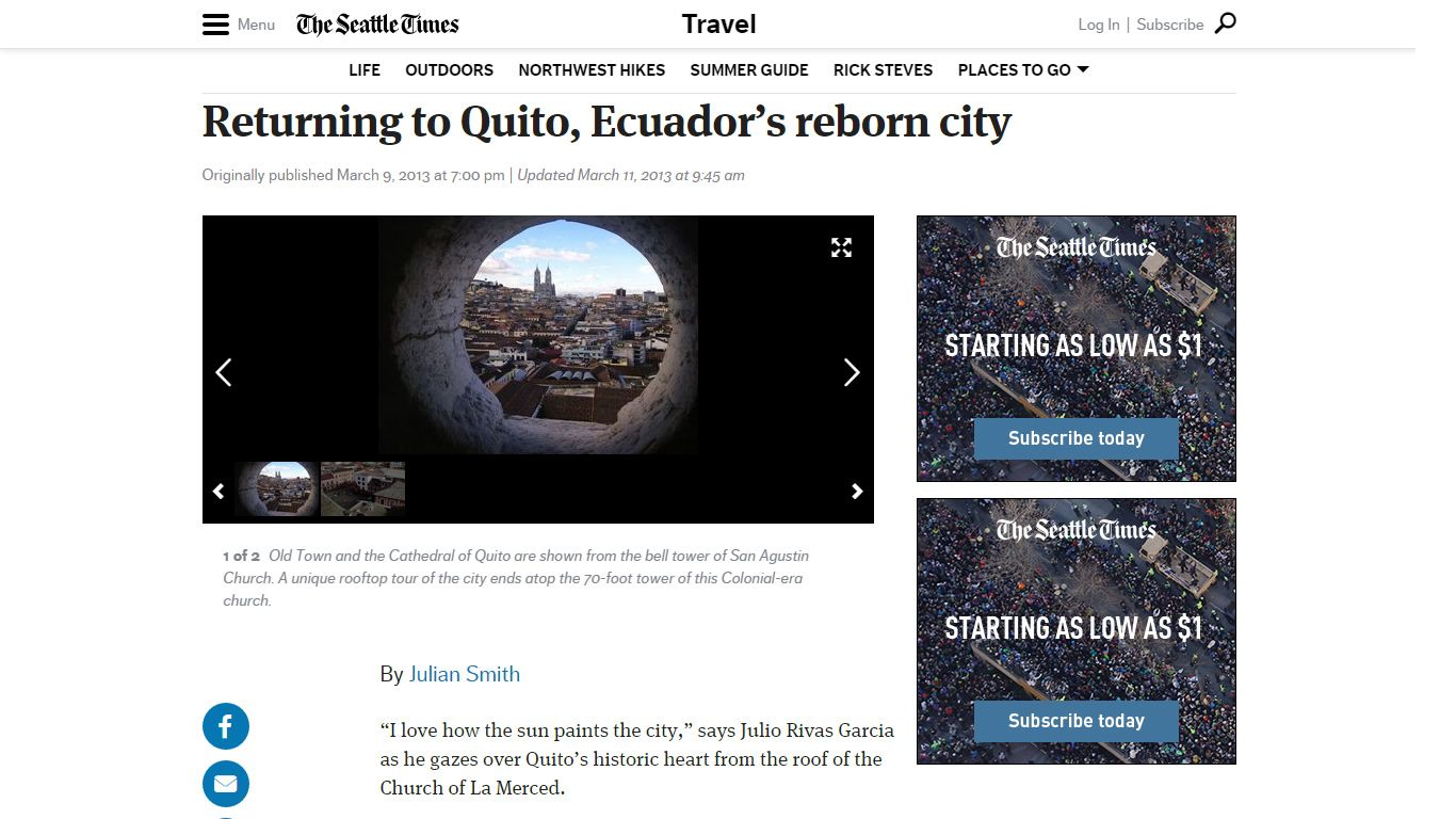 The Seattle Times 2013 - Returning to Quito, Ecuador's reborn city