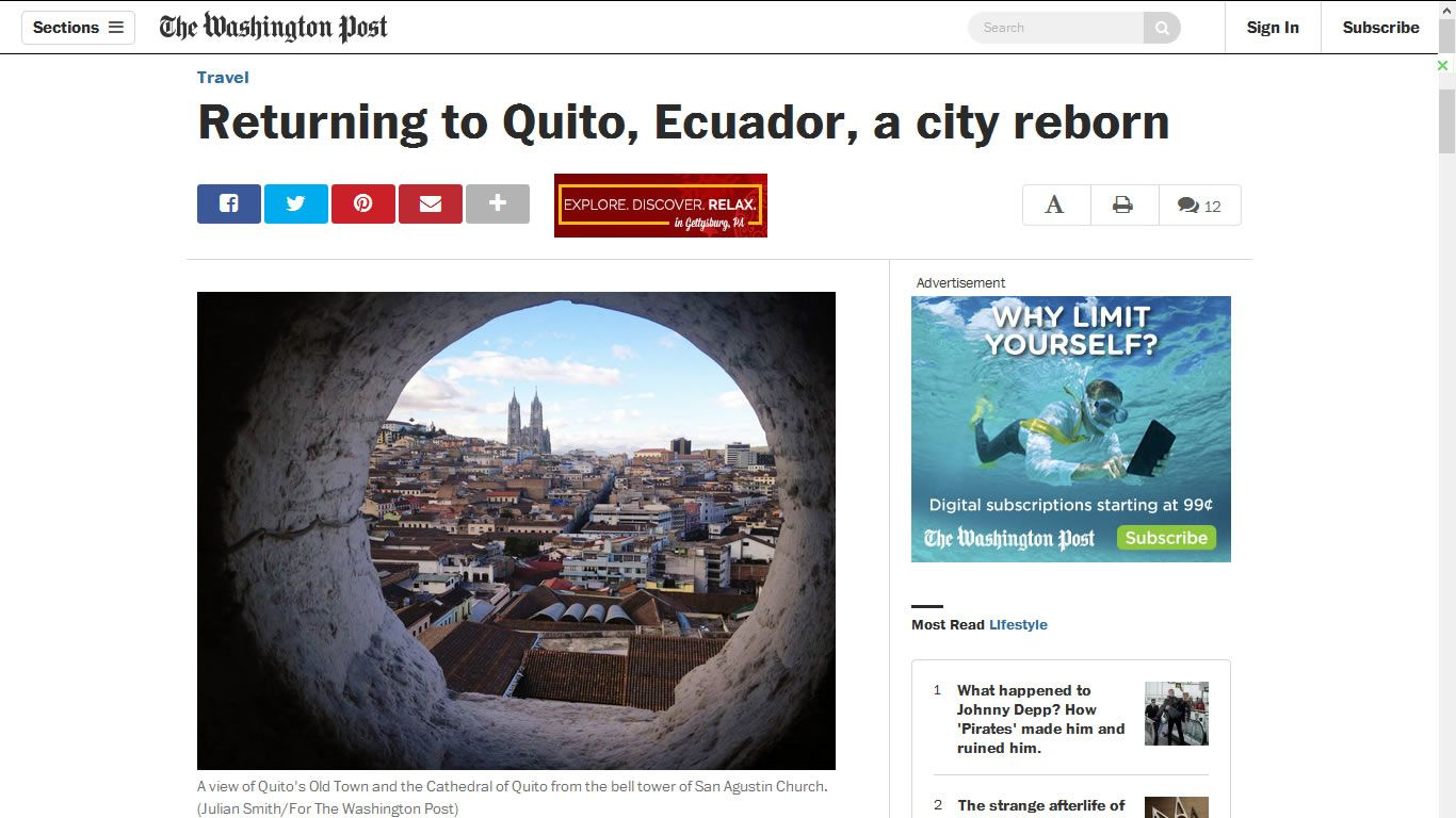 The Washington Post - Returning to Quito, Ecuador, a city reborn