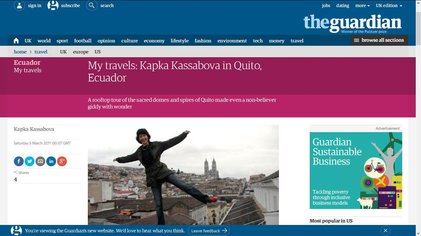 The Guardian - My travels: Kapka Kassabova in Quito, Ecuador